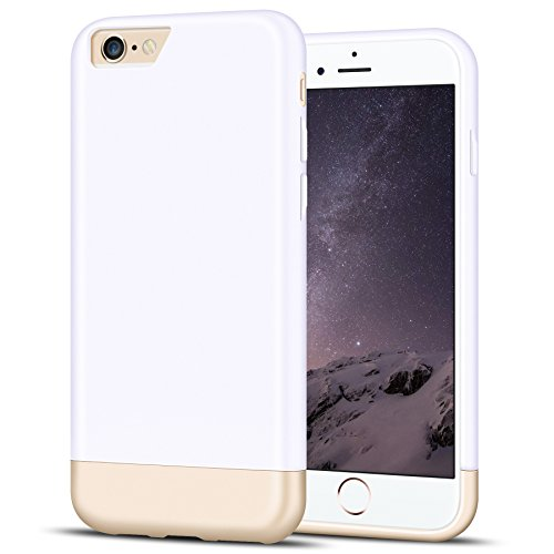 Metallic Slider Case - iPhone 6 Case, MOZE [Vibrance Series] iPhone 6 (4.7) Case [Lifetime Warranty] Protective SOFT-Interior Scratch Protection Metallic Finished Base with Vibrant Trendy Color Slider Style Hard Case for iPhone 6 (4.7 inch) (2014) - White and Gold