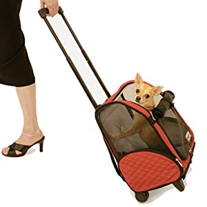 15. Snoozer Wheel Around Travel Pet Carrier in Red