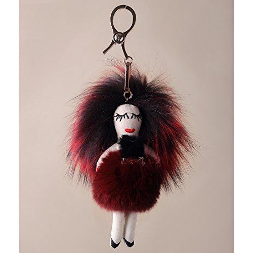 URSFUR Piel de zorro muñeca de muchacha de pelo largo bolsa de cadena dominante de coche de conejo rojo con negro