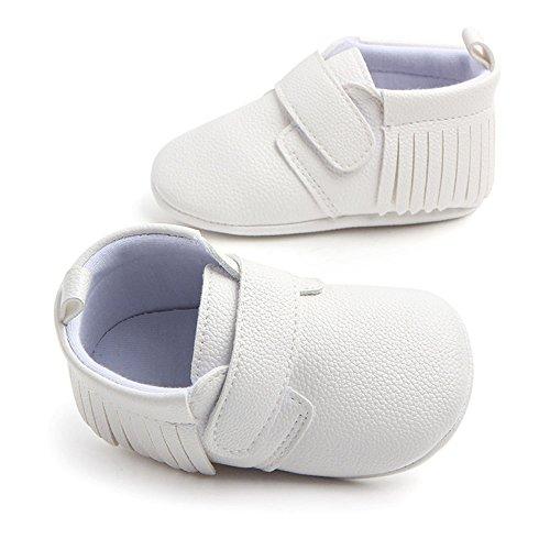 Antheron Infant Moccasins - Unisex Baby Girls Boys Tassels Soft Sole Toddler First Walker Newborn Crib Shoes(White,0-6 Months) - Image 3