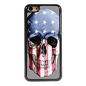 SHOUJIKE Skull US Flag Design Aluminum Hard Case for iPhone 5C , White