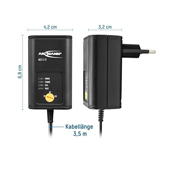 41ZCmH7dhiL ANSMANN Batterie Ladegerät 2V/6V/12V mit Erhaltungsladung zum Einlagern von Blei Akkus (Gel, Wet, MF, VRLA, AGM) für…