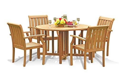 New 5 Pc Luxurious Grade-A Teak Wood Outdoor Dining Set - 48