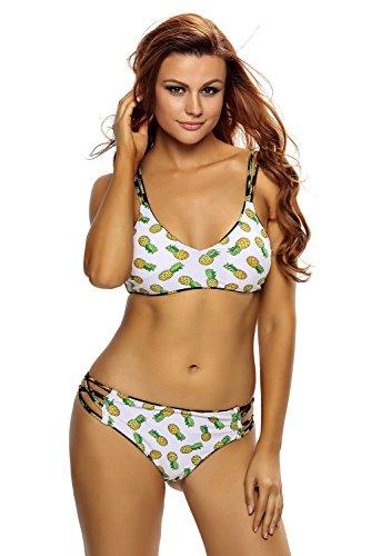 Reversible Underwire (LittleLittleSky Womens Sexy Crisscross Straps Pineapple Printed Reversible Two Piece Bikini Swimwear Swimsuits ((US 20-22)XXL))