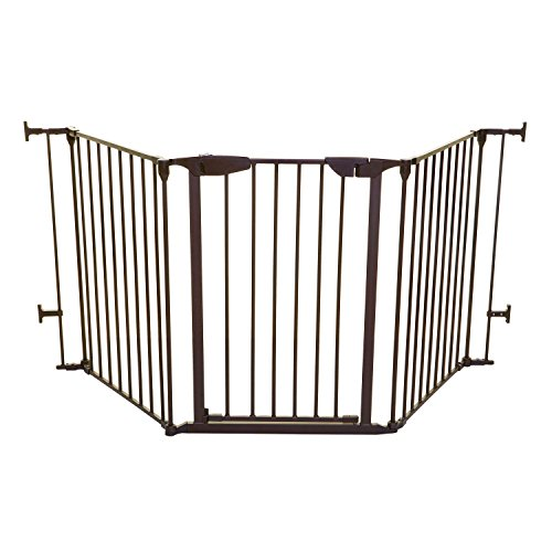 Dreambaby Newport Adapta Baby Gate - Use at Top or Bottom of Stairs - For straight, angled or irregular shaped openings (Brown) ()