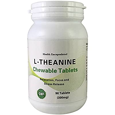 Chewable L-Theanine 200mg Tablets - Health Encapsulated Natural Green Tea Extract Supplement - Double Strength - Reduce Stress, Anxiety & Helps Sleep and Concentration - Suitable for ADHD, Kids