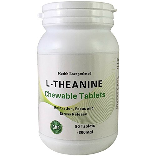 L-Theanine Chewables- 90 Count 200mg of L-theanine in 300mg Tablet, Sugar Free- Health Encapsulated Double Strength LTheanine Tablets - Reduce Stress, Anxiety & Helps Sleep and Concentration
