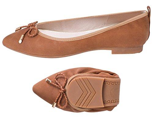 ABUSA Damen Leder / Wildleder Ballett Flache faltbare Spitzschuh Schuhe Flats-Bourbon Leder