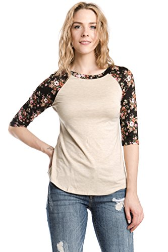 Boatneck Raglan Tee - Bubble B Women's Raglan Top With Floral Print Sleeves Junior Plus Oatmeal 2X