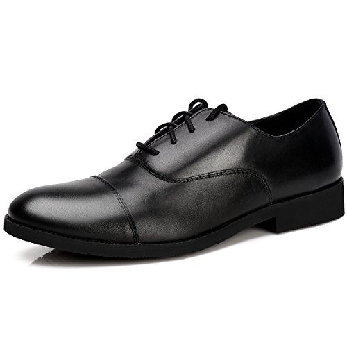 sandes Men's Genuine Leather Oxford Cap-Toe Lace up Dress Shoes Modern Business Shoes