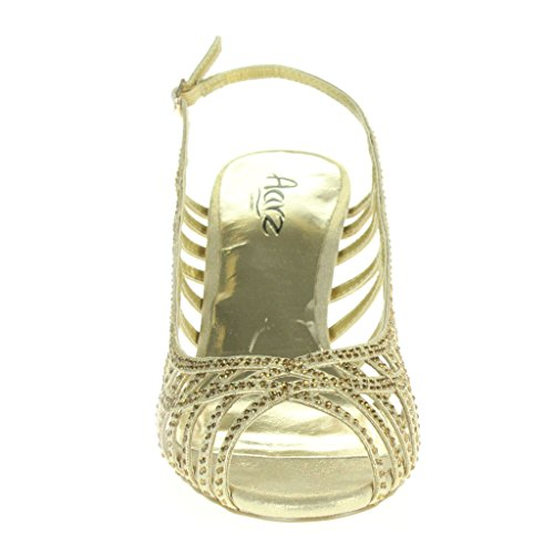 Oro Fiesta Toe Trim Boda Señoras Noche Tacón Nupcial Slingback Paseo Peep Mujer Diamant Zapatos Sandalias Tamaño alto xza4RWg