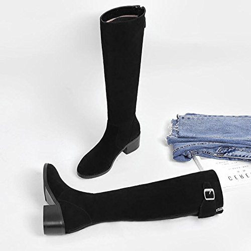 KHSKX-However Knee Long Boots Midge Long Boots Winter Thickening Plus Velvet Warm Female High-Boots And Like Sanding Paper 37 y2c4IdGYbT