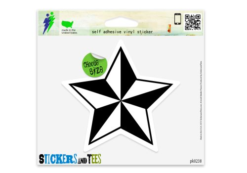 White Nautical Star (Nautical Star Black White Vinyl Car Bumper Window Sticker 2