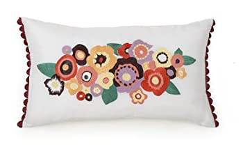 Collier Campbell Grandiflora Floral Embroidered Decorative Pillow