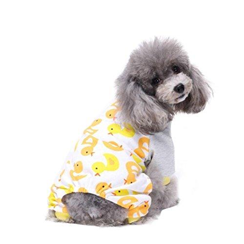 Price comparison product image Puppy Dog Cotton Pajamas, Cute Pet Teddy Soft Homewear Jumpsuit (S,  Yellow)