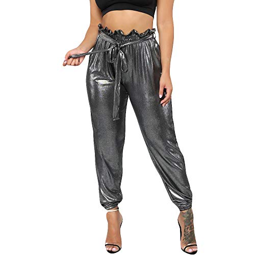 Women's PU-Leather Stretch Jogger Denim Pants Harem Leather Pants Sexy Solid Long Pants Gray