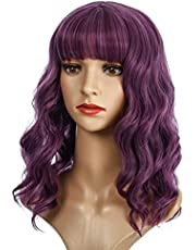 Wavy Bob Wigs with Bangs for Women Short Wavy Bob Curly Wig Synthetic Wig Shoulder Length Wigs for Girl Daily Wear Cosplay Costume Wig Photo color