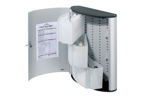Durable 197423 First Aid Box Large With Standard German Din 13157 Contents Metallic Silver by Durable (Image #1)