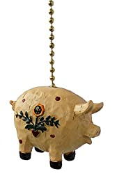 Primitive COUNTRY PIG ceiling Fan Pull light chain extension extender by Clementine