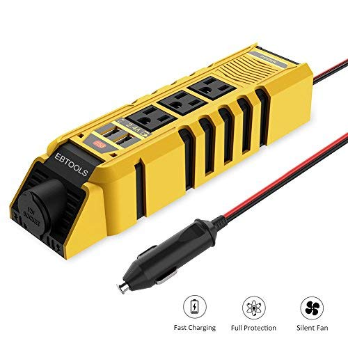 EBTOOLS Yellow Power, 150W Inverter 12V DC to 110V Car 3 AC Outlets, 4.8A Dual USB Ports and 1 Cigarette Lighter, Converter for Laptop, Phone in case Emergency and Outage