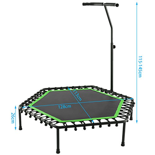 Hexagonal Mini Trampoline with Adjustable Handle Bar, Safe Elastic Band Trainer for Kids or Adults, Indoor Outdoor (Green)