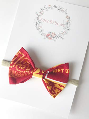 USC University of Southern California Trojan Trojans newborn headband bow - great for newborns baby girl or toddler shower gift - Made in USA (Usc Trojan Baby)