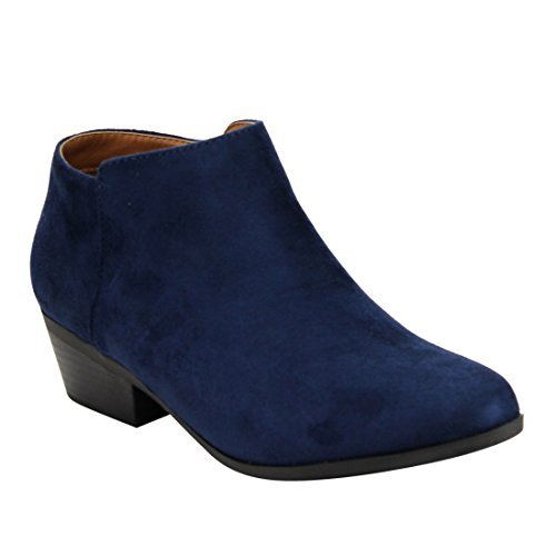 BELLA MARIE AE47 Women's Side Zip Stacked Block Heel Ankle Booties, Color:NAVY, Size:10
