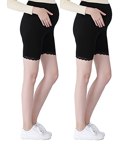 Liang Rou Maternity Ultra Thin Stretch Short Leggings Lace Trim Black M
