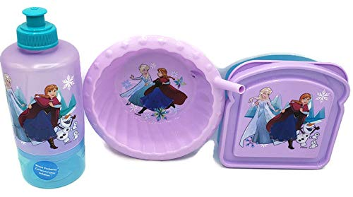 Disney Frozen 3-Piece Bundle Cereal Sipper Bowl, Sandwich Container and Water Bottle