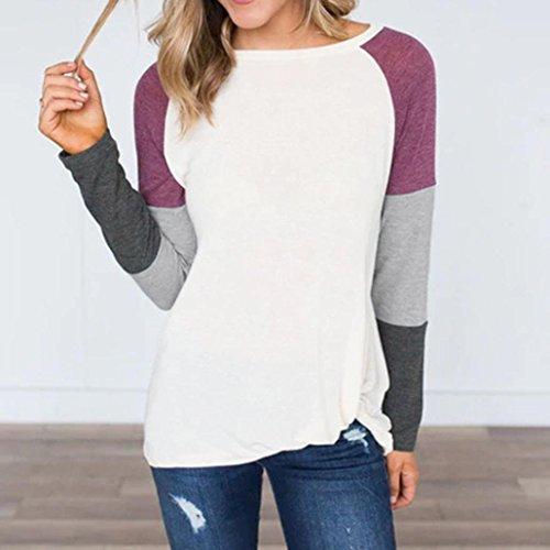 Chemises Vrac SleeveT Violet O Tops Casual Half Cou MuSheng en Blanc Femmes Blouse Patchwork A6Xwqqz