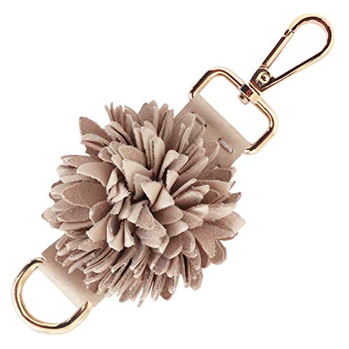 Genuine Leather Handmade Pom Pom Charms | Key Ring Keychain | for Tassel Bags Purse Backpack (Beige - Pom Pom)
