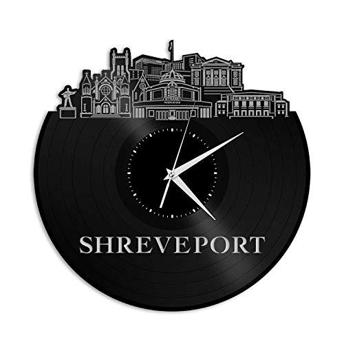 VinylShopUS - Shreveport LA Vinyl Wall Clock City Skyline Souvenir Best Gift for Friends Office and Bedroom   Home Anniversary Decoration for $<!--$34.99-->