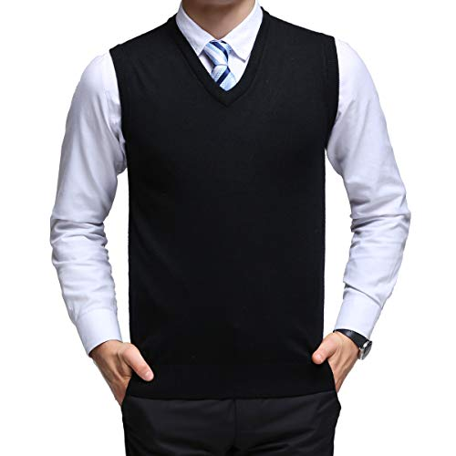 YinQ Mens Casual Golf Tank Top V-Neck Sleeveless Pullover Vest Slim Fit Kintted Sweater Vest (Large (US), 80_Black)