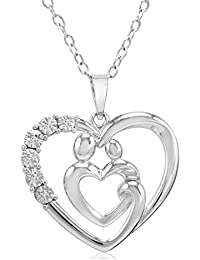 Sterling Silver Mother and Child Diamond Heart Pendant-Necklace on an 18 inch Chain