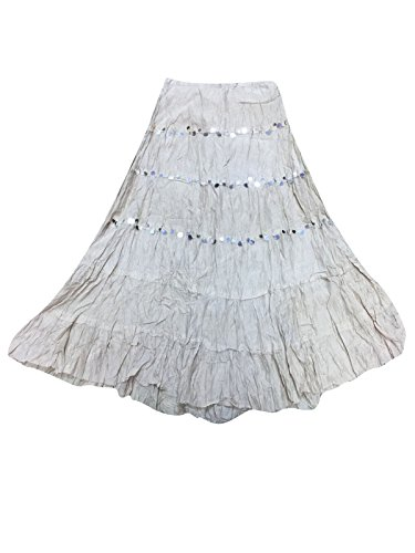 Mogul Womens Long Skirt Grey Broomstick Crinkle Flare Gypsy Fashion Skirts (Crinkle Flare Skirt)