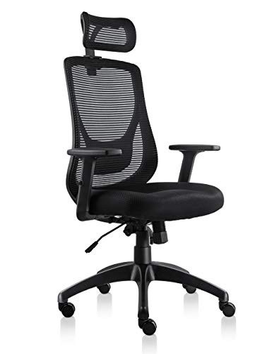 mic Office Chair High Back Mesh Chair with Adjustable Headrest and Armrests, Tilt Lock, Lumbar Support Mesh Desk Executive Office Chair (Black) ()