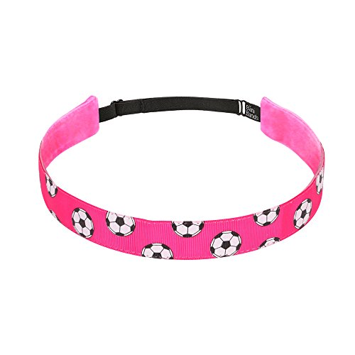 Non Slip Headbands for Girls | BaniBands Soccer Headband for Women | Fun Colors and Patterns, Unique No Slip Headband Design | Sports Themes for Soccer | Soccer-Hot -