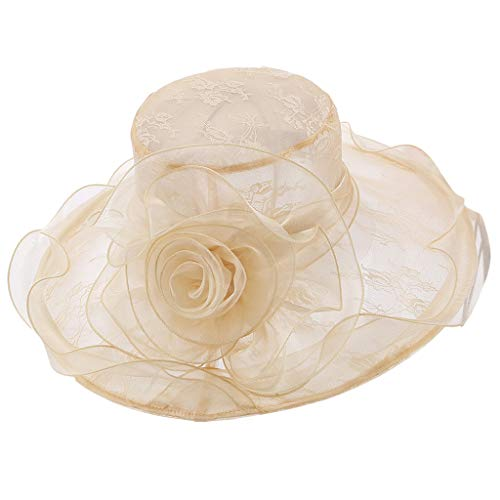 Maikouhai Women's Organza Church Kentucky Derby Fascinating Bridal Tea Party Wedding Hat for Church Functions, Race Day Events, Daily Life, Trips - Head Circumference 57cm - Icon Beanie Visor Mens