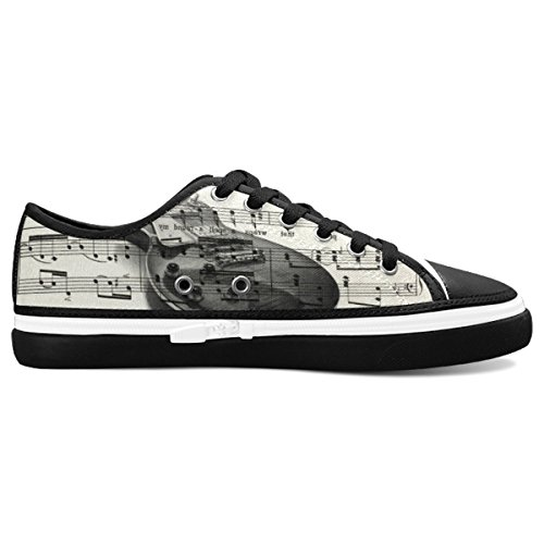 D-Story Custom Music Note And Guitar Women's Nonslip Canvas Shoes Fashion Sneaker