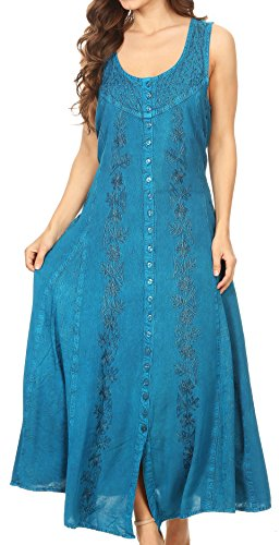 - Sakkas 15221 - Maya Floral Embroidered Sleeveless Button Up Rayon Dress - Turquoise - L/XL