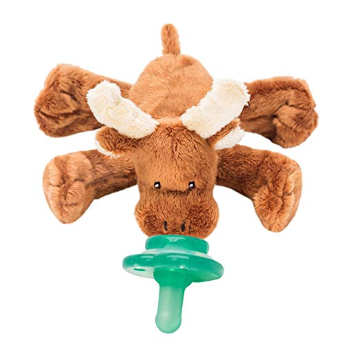 Nookums Paci-Plushies Moose Buddies- Pacifier Holder (Plush Toy Includes Detachable Pacifier, Use with Multiple Brand Name Pacifiers)