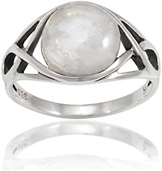 925 Sterling Silver Round Genuine Moonstone Celtic Knot Triquetra Trinity Endless Eye Ring