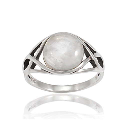 - Chuvora 925 Sterling Silver Round Genuine Moonstone Celtic Knot Triquetra Trinity Endless Eye Ring, Size 9