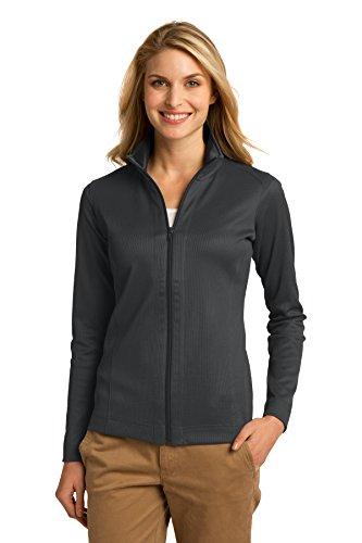 (Port Authority Women's Vertical Texture Full Zip Jacket M Iron Grey/Black )