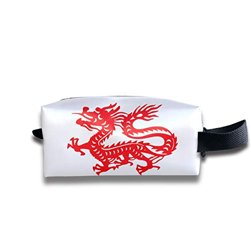 Clash Durable Zipper Wallet Makeup Handbag With Wrist Band Chinese Magic Dragon Toiletry Bag