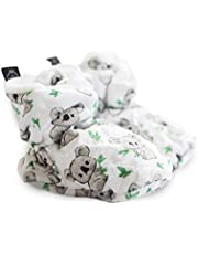 Doux Becot, Baby Slipper, Made of 100% Minky Fabric Outside & Inside, Adjustable with Velcro Strap at The Ankle, Anti-Slip, Keep Baby Feet Warm