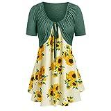 Ximandi Women's Sunflower Print Knot Bandage T Shirt Dress Ladies Summer Fashion Tunic Tops Green