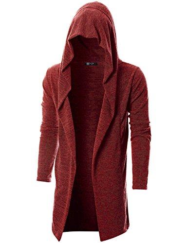GIVON Mens Long Sleeve Draped Lightweight Open Front Longline Hooded Cardigan/DCC055-ORANGE-XXXL by GIVON