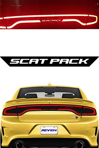 2015 Decals - REVION Autoworks 2015-2019 Dodge Charger Scat Pack Tail Light Decal | Racetrack Text Sticker Overlay fits 2015, 2016, 2017, 2018 & 2019 Model Taillight | Charger Accessories... (Scat Pack)