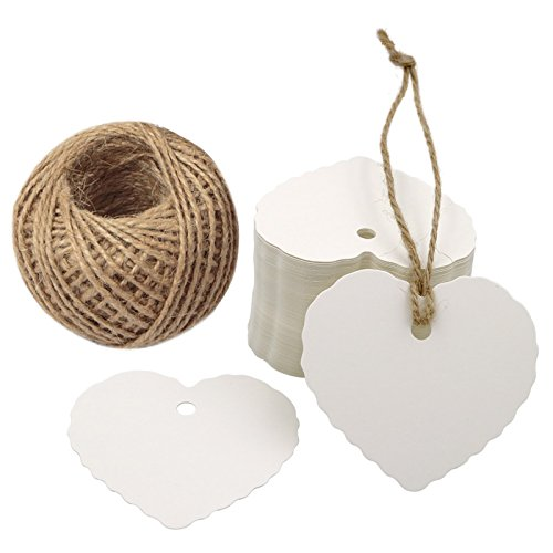 Valentine's Day Tags,100PCS Kraft Paper Gift Tags Heart Paper Tags with Jute Twine 30 Meters Long for DIY Crafts & Price Tags,Valentine,Wedding and Party Favor